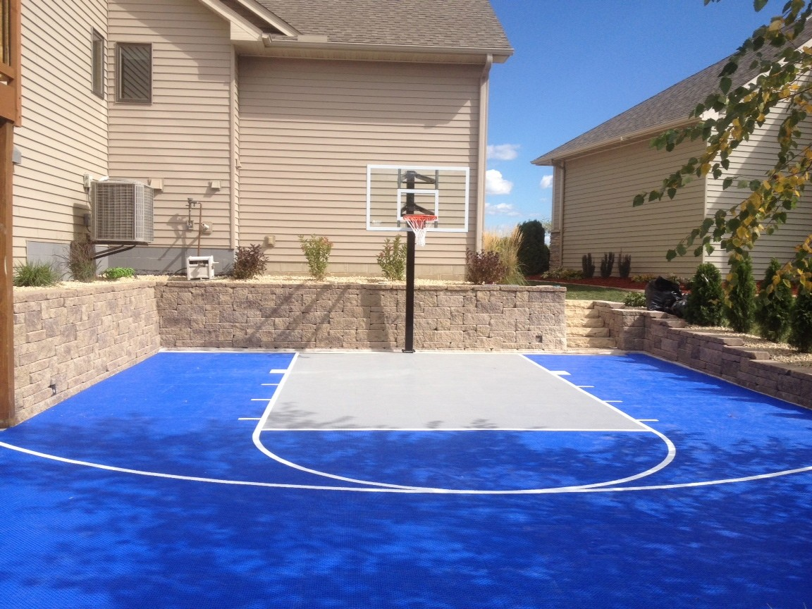 Concrete outdoor basketball court outdoor designs for Custom basketball court cost