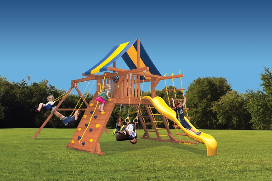 Original Playcenter swing set with 2 position swing beam