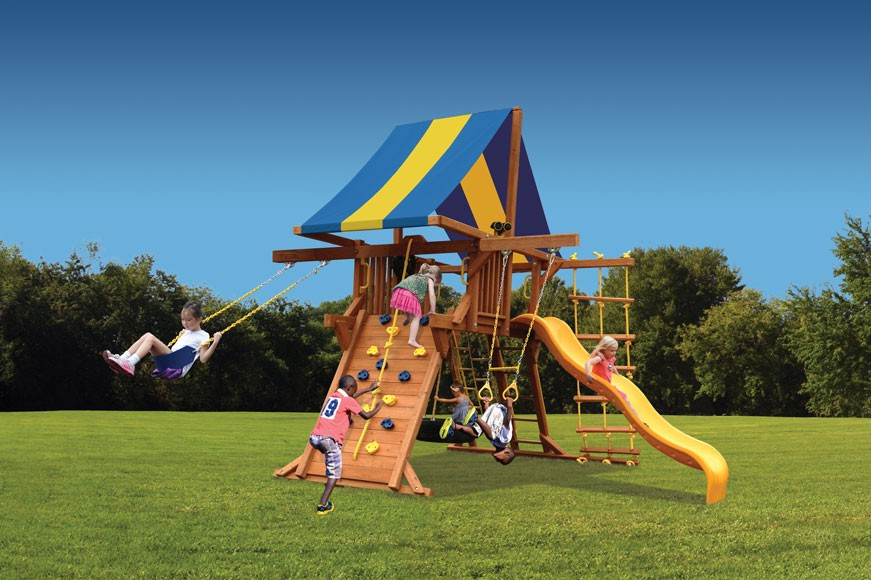 Deluxe Playcenter Swing Set With Double Swing Arm