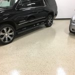 Minnetrista Garage Floor epoxy floor coating in Sand Beige With Random Chip by Millz House