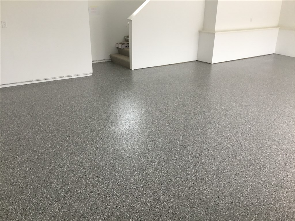 Epoxy Floor Coating In All Chip Marble Installed Lakeville MN Garage