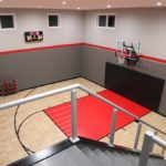 Eden Prairie_Indoor Game Court Featuring SnapSports Revolution Tuffshield Light Maple and Red athletic game court tiles