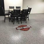 custom epoxy floor coating garage floor installed by Millz House in Credit River; home featured in the BATC Fall Parade of Homes