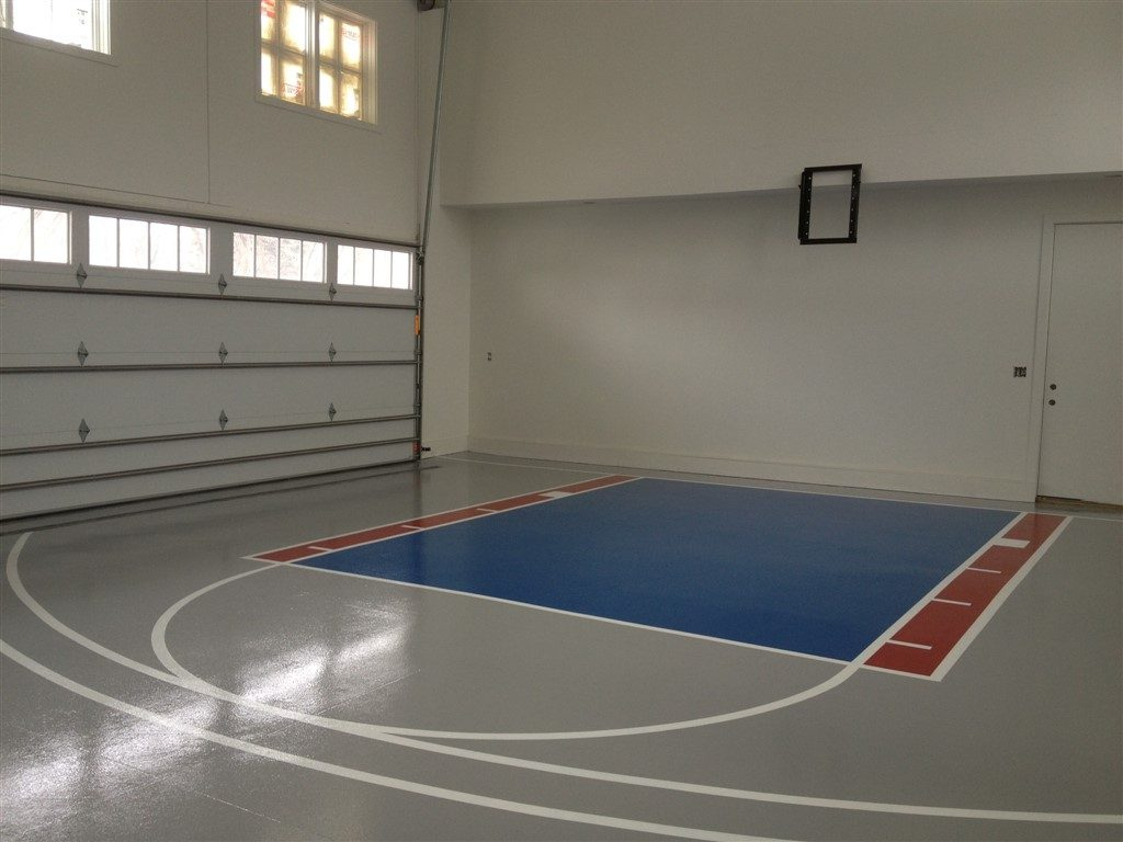 Millz House/American Garage Solutions epoxy floor coatings garage Basketball Court