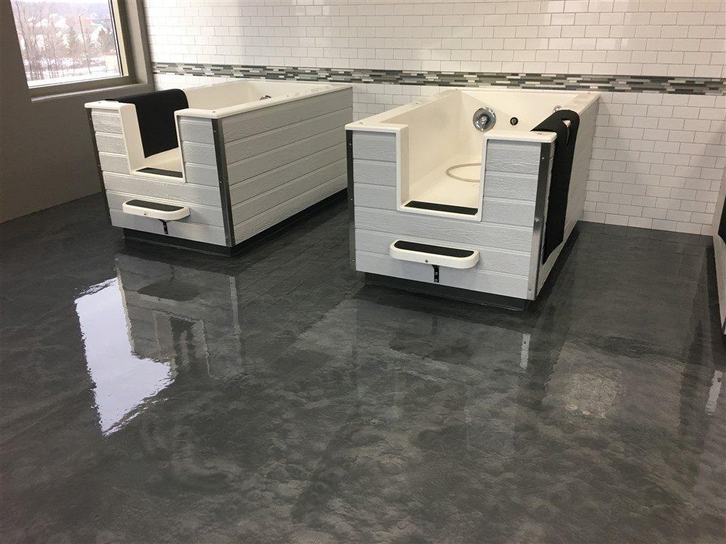 Pet Grooming Salon Metallic Floor Coating by Millz House