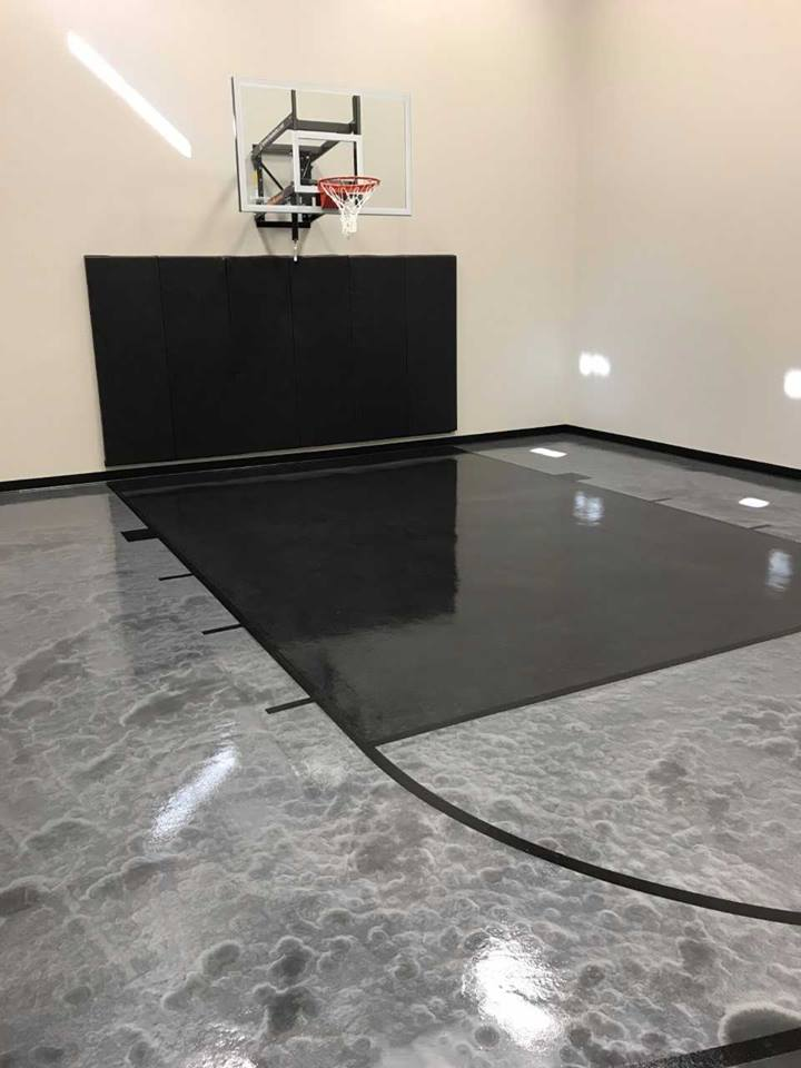 Grey and black metallic floor coating basketball court in Victoria MN