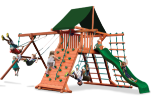 Original Playcenter swing set with play deck, climbing wall, belt swings and trapeze bar