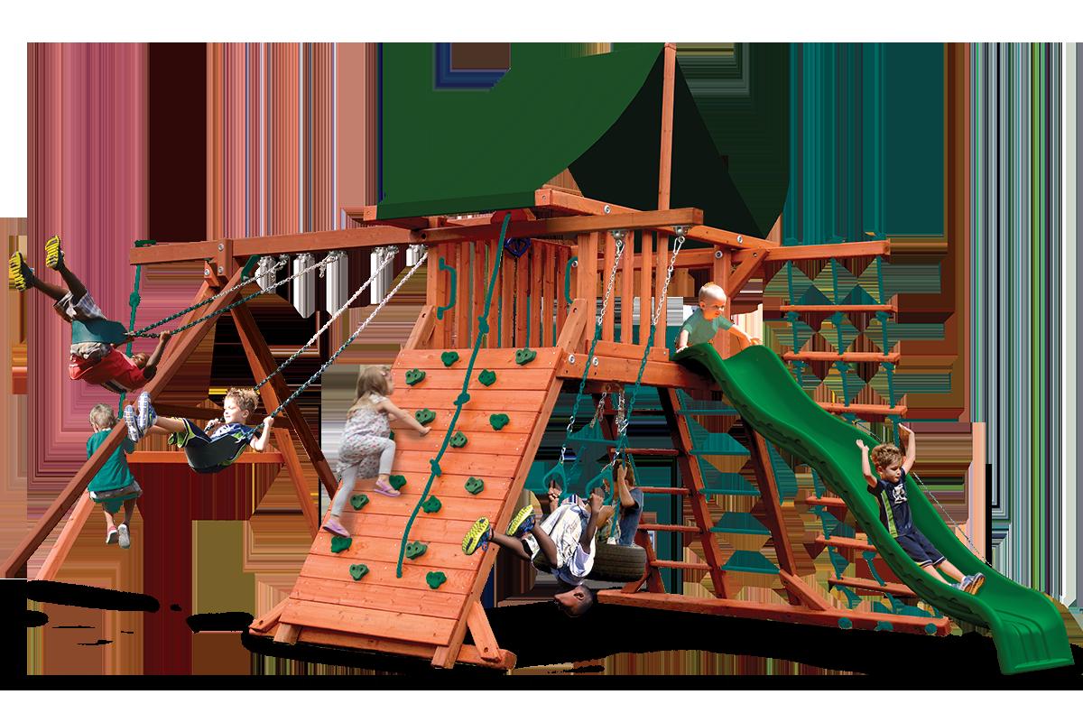 Original Playcenter swing set with 3 belt swings, trapeze bar, climbing wall
