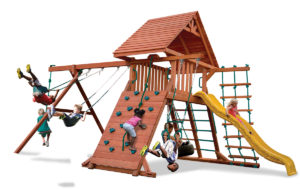 Original Playcenter swing set has a wood roof, 2 belt swings and a rope and disk swing, climbing wall