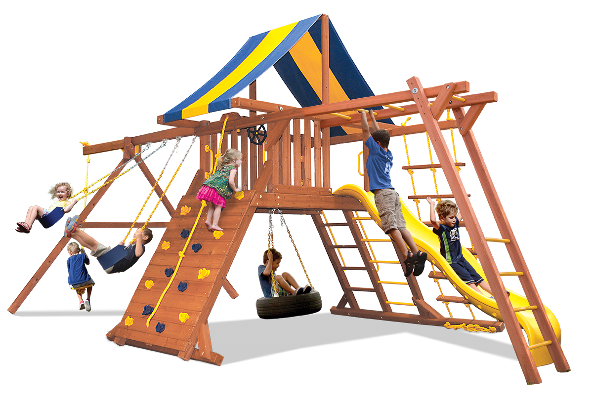 Original Playcenter Combo 3 swing set with monkey bars, climbing wall, belt swings and rope and disk swing