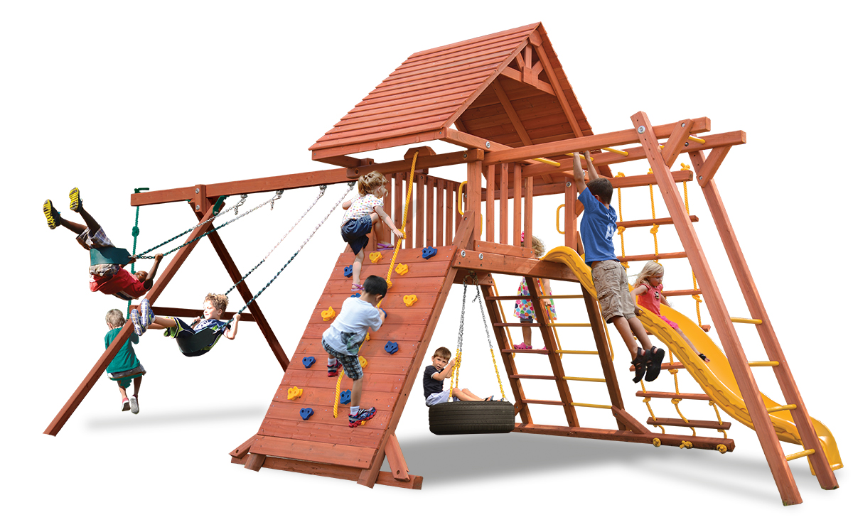 Original Playcenter swing set has a wood roof, 2 belt swings and a rope and disk swing and monkey bars