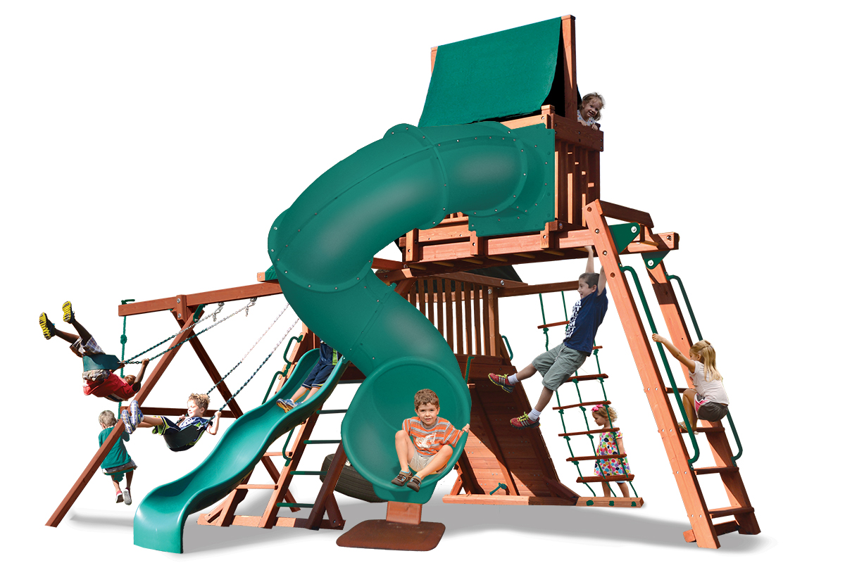 Original Playcenter Combo 5 play set with monkey bars, sky loft, and corkscrew slide