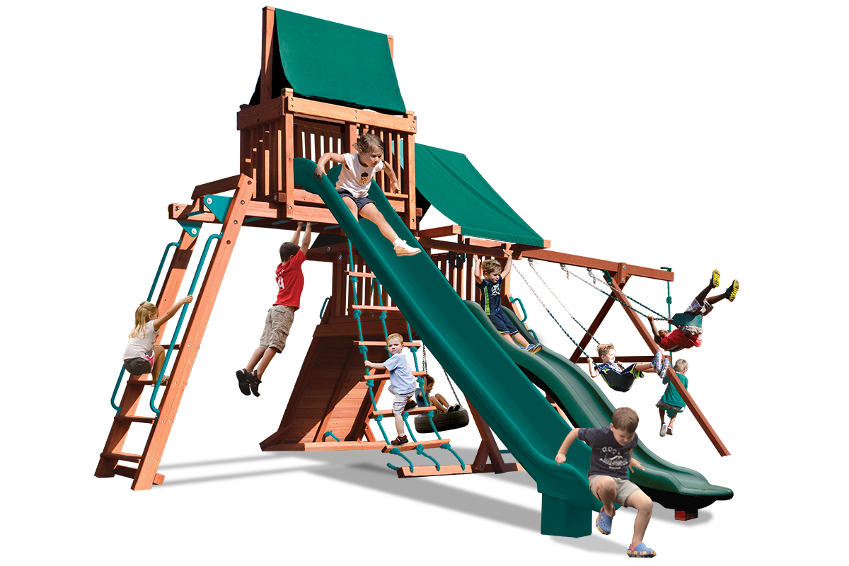 Turbo Original Playcenter Combo 4 Bonanza play set with monkey bars, sky loft and two slides