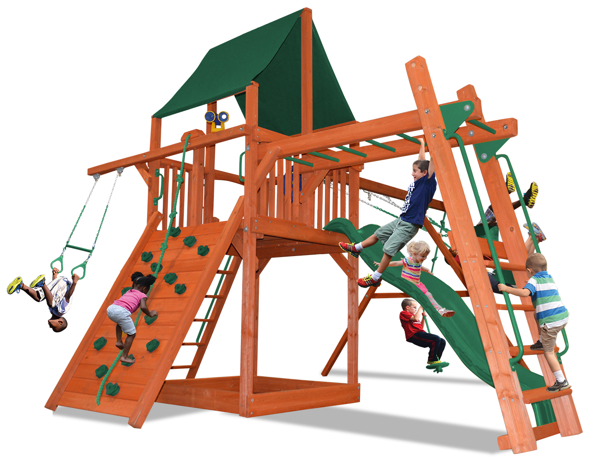Deluxe Fort swing set with monkey bars