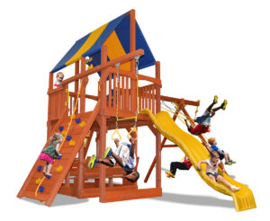 Deluxe Fort XL swing set features 50% larger play deck and premier picnic table