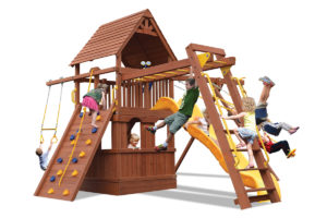 Deluxe Fort swing set with lower level playhouse and monkey bars