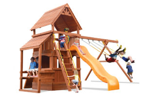Deluxe Fort Hangout swing set with lower level play house and cafe table