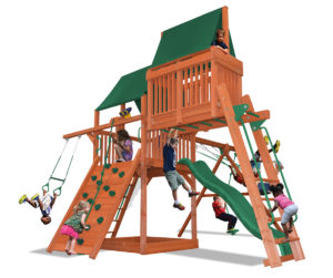 Deluxe Fort Combo 4 play set with monkey bars and skyloft