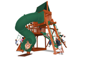 Deluxe Fort Combo 5 play set with monkey bars, sky loft and corkscrew slide