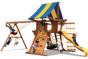 Deluxe Playcenter swing sets have play deck, climbing wall, belt swings and trapeze bar