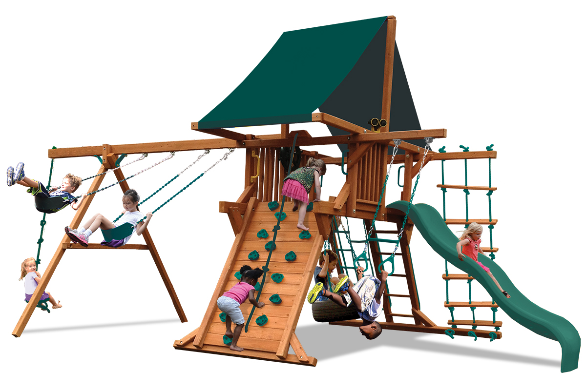 Deluxe Playcenter swing set with play deck, climbing wall, 2 belt swings and a rope and disk swing