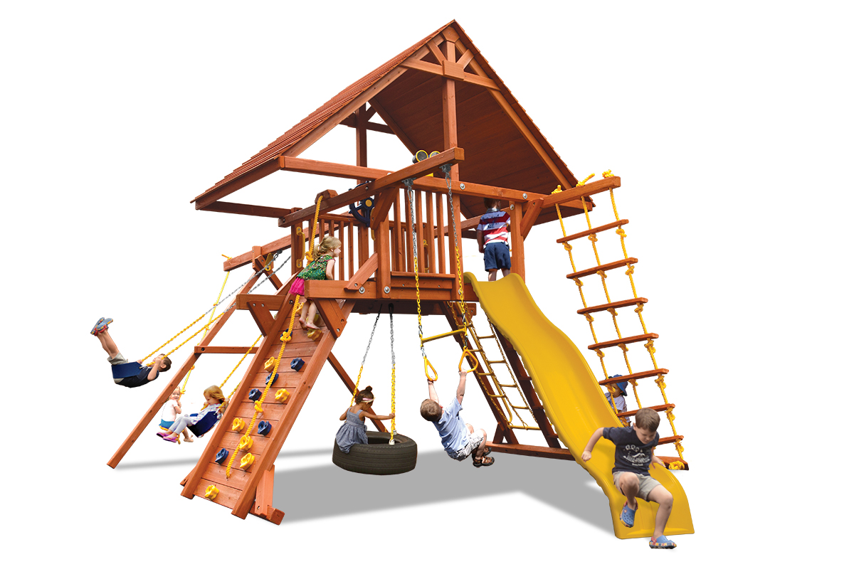 Deluxe Playcenter swing set has a wood roof, play deck, climbing wall, 2 belt swings and a rope and disk swing