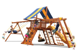 Deluxe Playcenter Combo 3 swing set has a play deck, climbing wall, monkey bars, 2 belt swings and a rope and disk swing