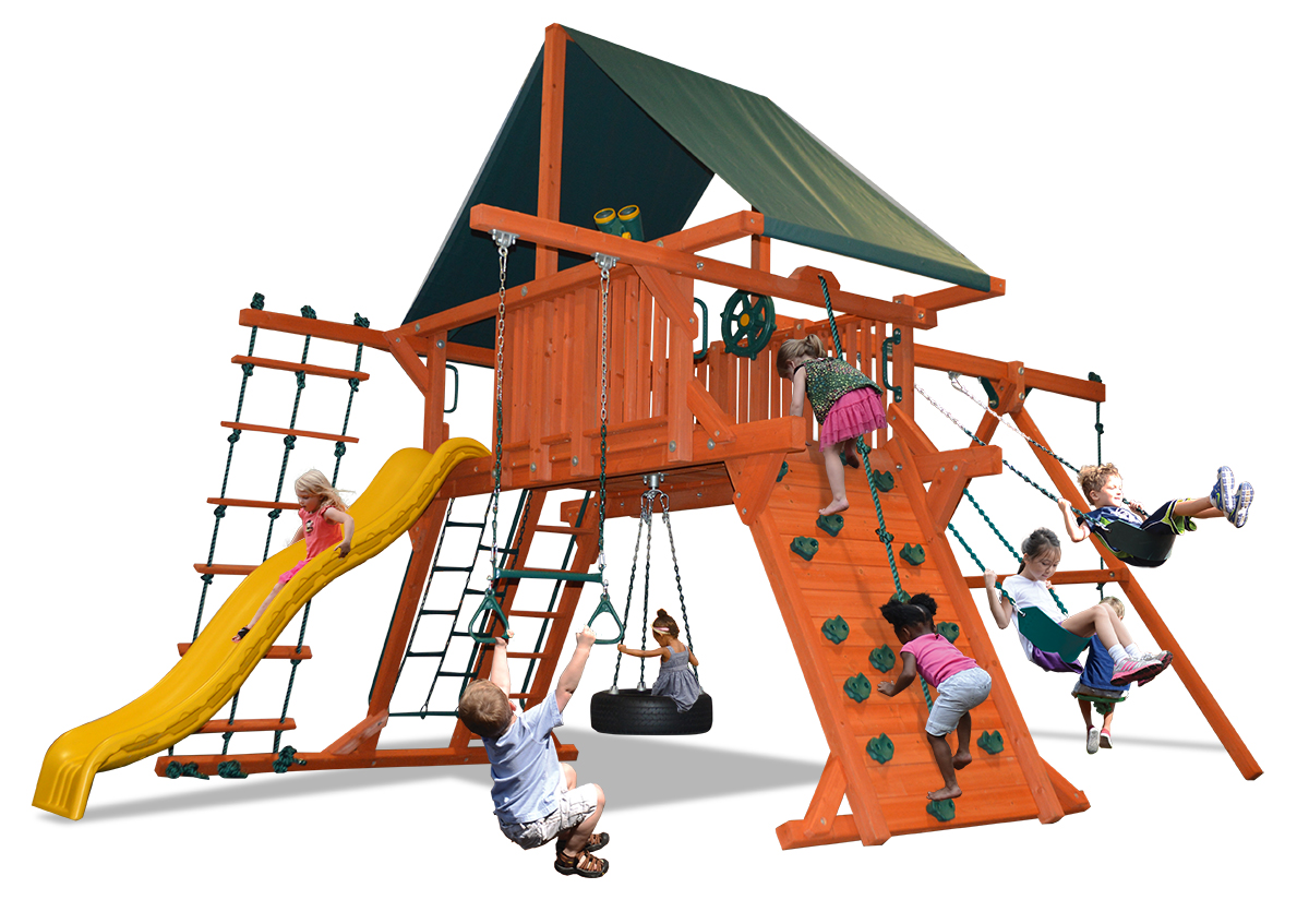 Deluxe Playcenter swing set with extra large play deck, climbing wall, belt swings, and a rope and disk swing