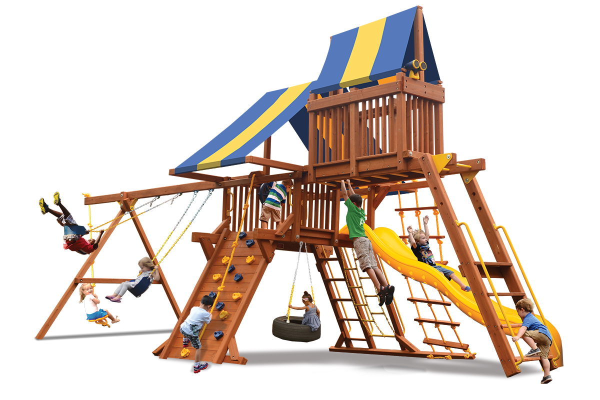 Deluxe Playcenter Combo 4 play set with play deck, climbing wall, monkey bars and sky loft