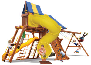 Deluxe Playcenter Combo 5 play set includes play deck, climbing wall, monkey bars, sky loft, corkscrew slide, 2 belt swings and a rope and disk swing