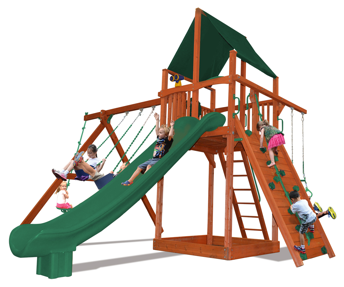 Supreme Fort swing set with 2 belt swings and a rope and disk swing