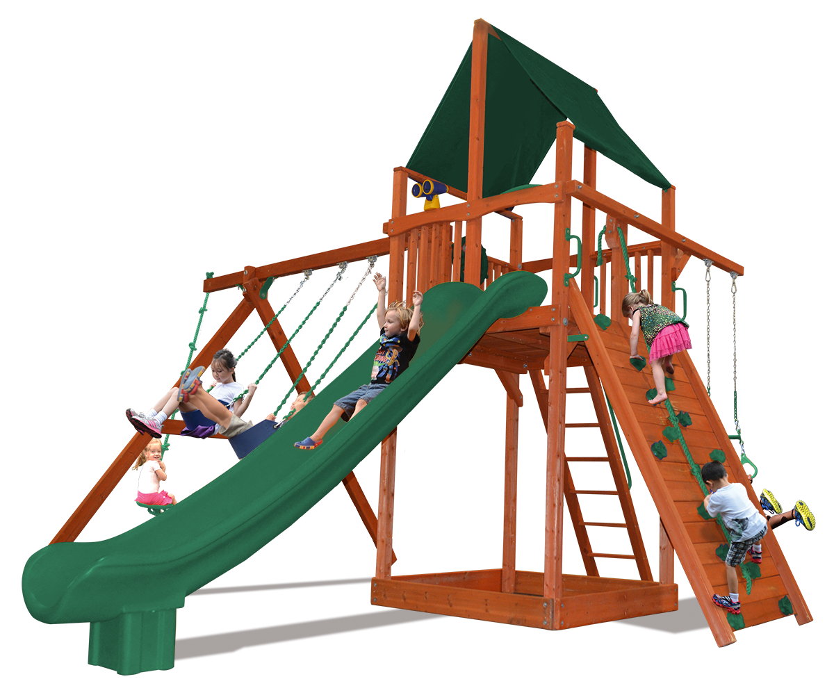 Supreme Fort swing set with play deck, climbing wall, belt swings, and rope and disk swing