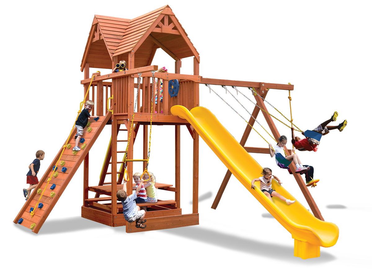 Supreme Fort XL play set features larger play deck and 2 belt swings and a rope and disk swing