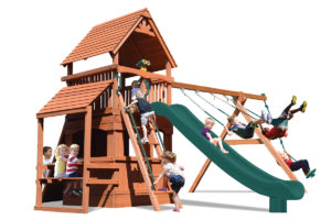 Supreme Fort Hangout play set with lower level playhouse and cafe table