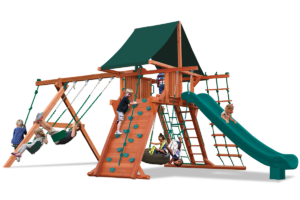 Supreme Playcenter swing sets feature play deck, climbing wall, ladders, belt swings and trapeze bar