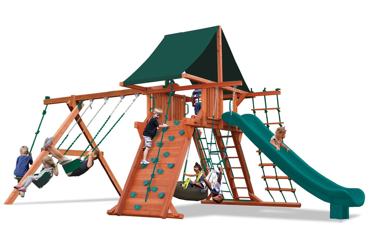 Supreme Playcenter swing set with play deck, climbing wall, tire swing, 2 belt swings, and a rope and disk swing