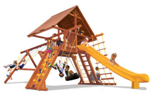 Supreme Playcenter swing set has a wood roof, play deck, climbing wall, belt swings, trapeze bar, and a rope and disk swing