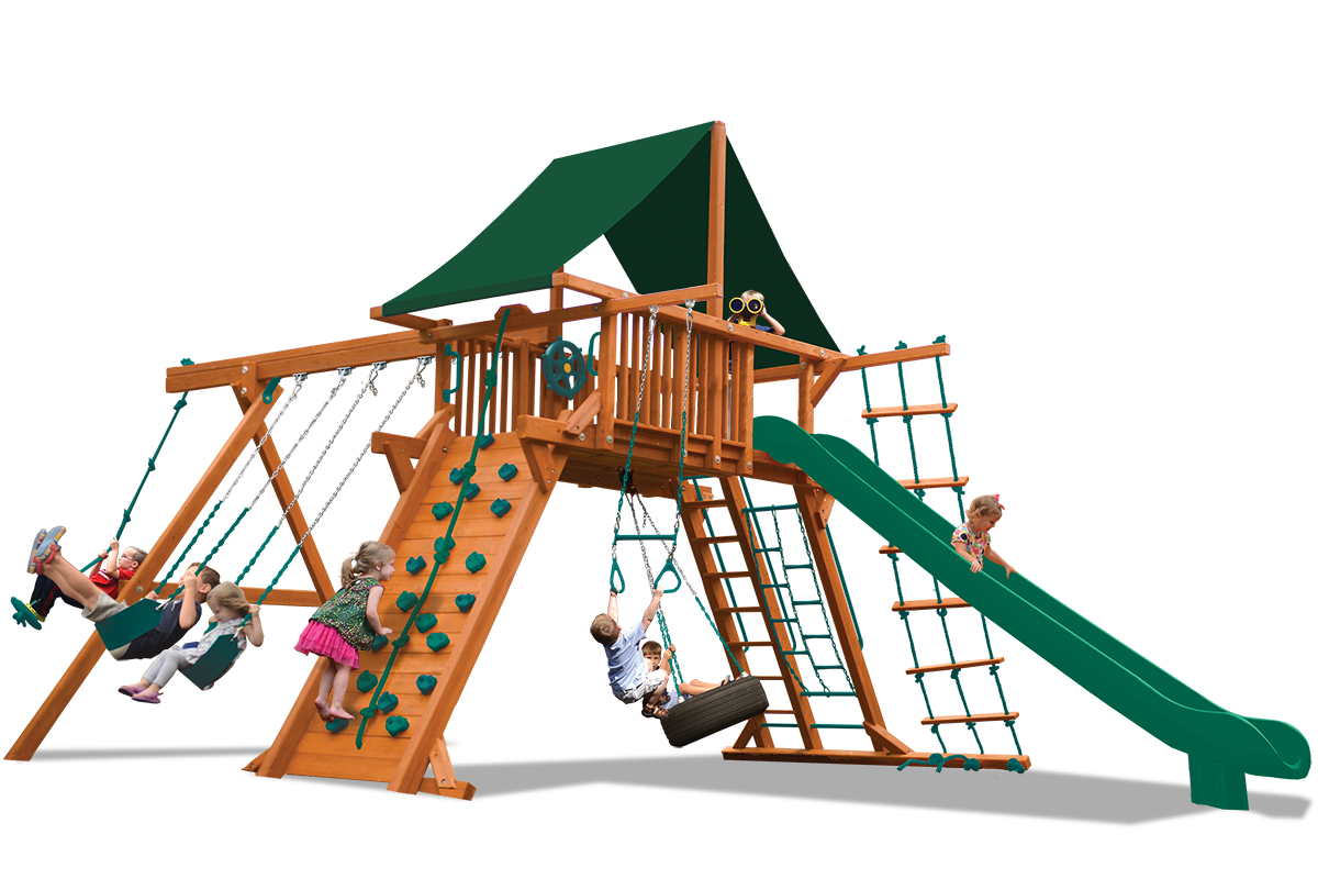 Supreme Playcenter swing set with larger play deck, climbing wall,, belt swings, trapeze bar, and a rope and disk swing