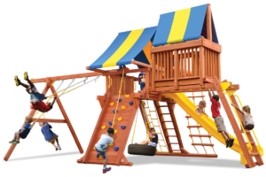 Supreme Playcenter Combo 4 play set with play deck, climbing wall, monkey bars, sky loft, belt swings, and rope and disk swing