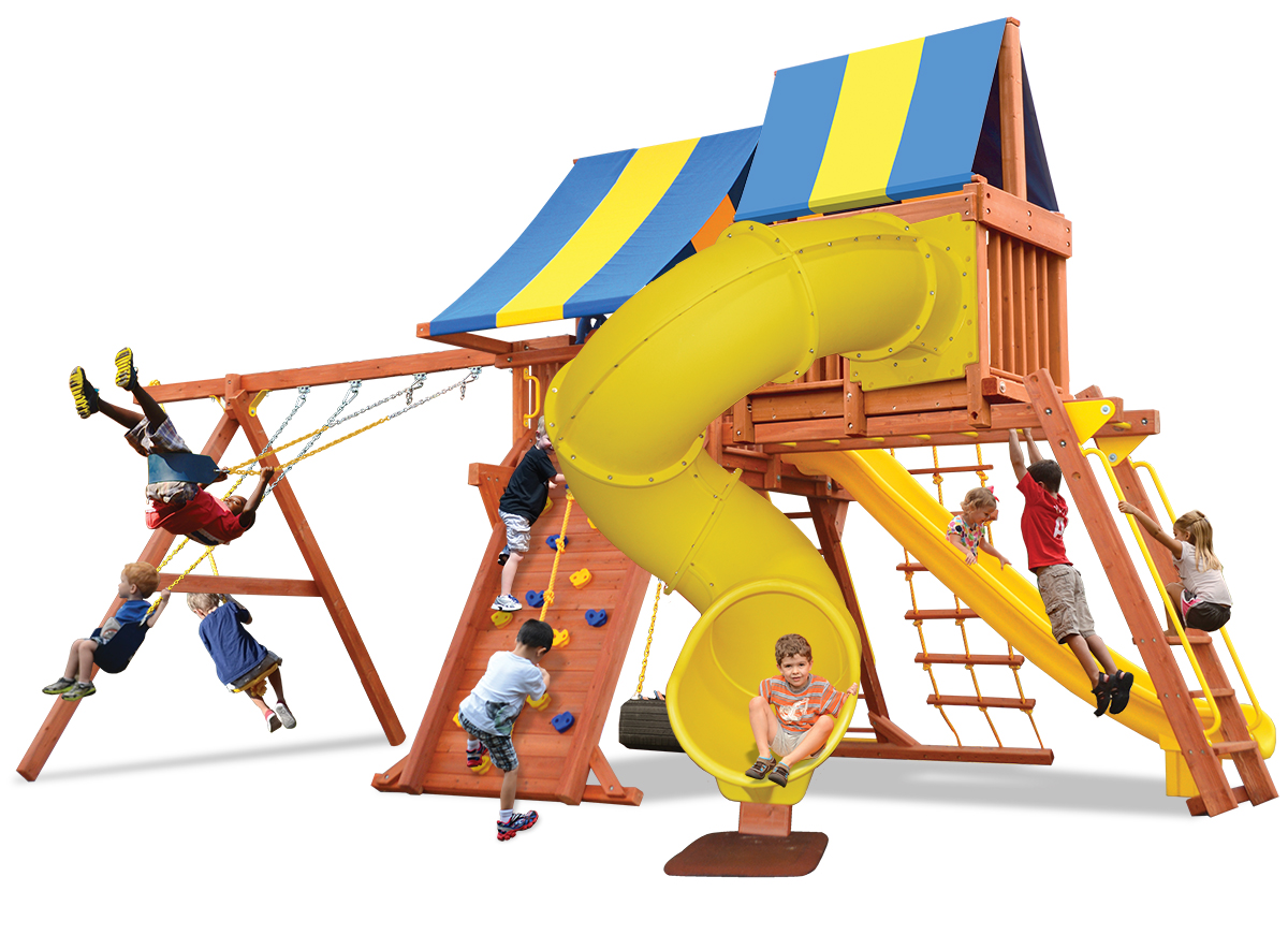 Supreme Playcenter play set features play deck, climbing wall, monkey bars, skyloft, corkscrew slide, belt swings and rope and disk swing
