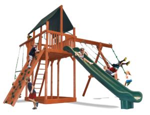 Extreme Fort swing set with large play deck, climbing wall, belt swings, trapeze bar