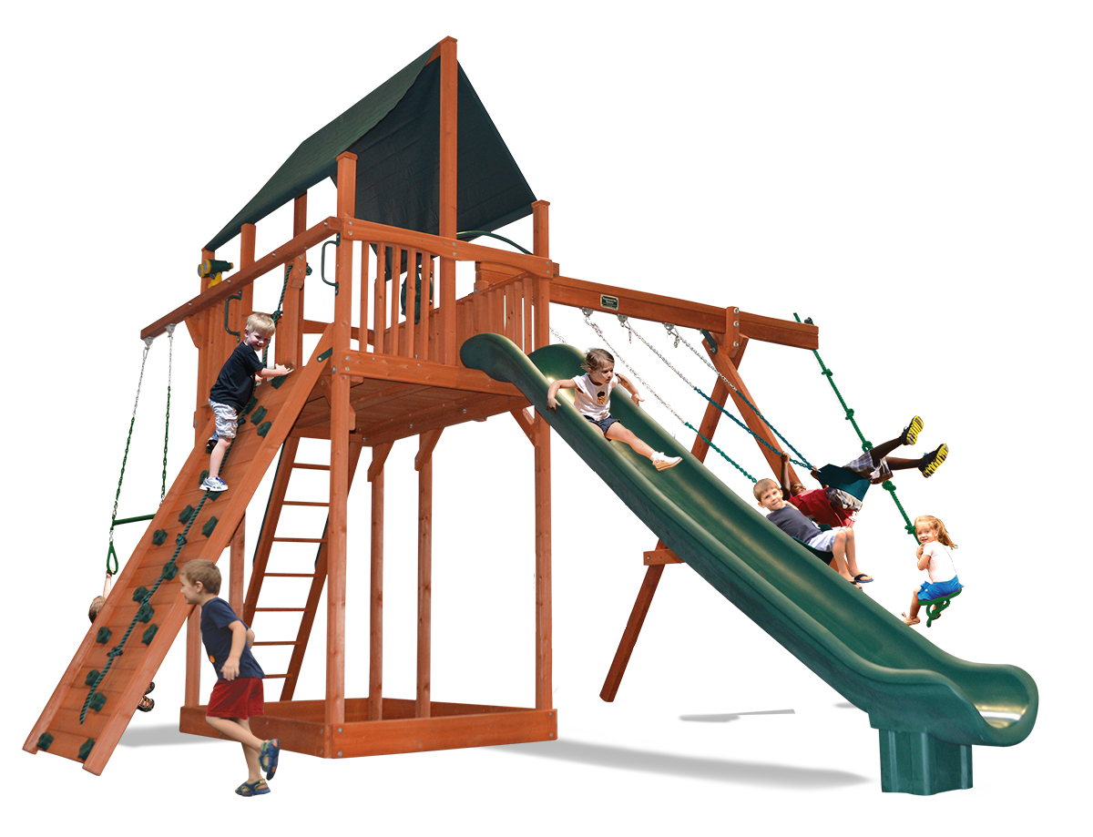 Extreme Fort swing set with 2 belt swings and a rope and disk swing
