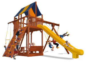 Extreme Fort swing set with premier picnic table and 2 belt swings and a rope and disk swing