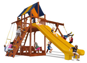 Extreme Fort play set with two slides and premier picnic table