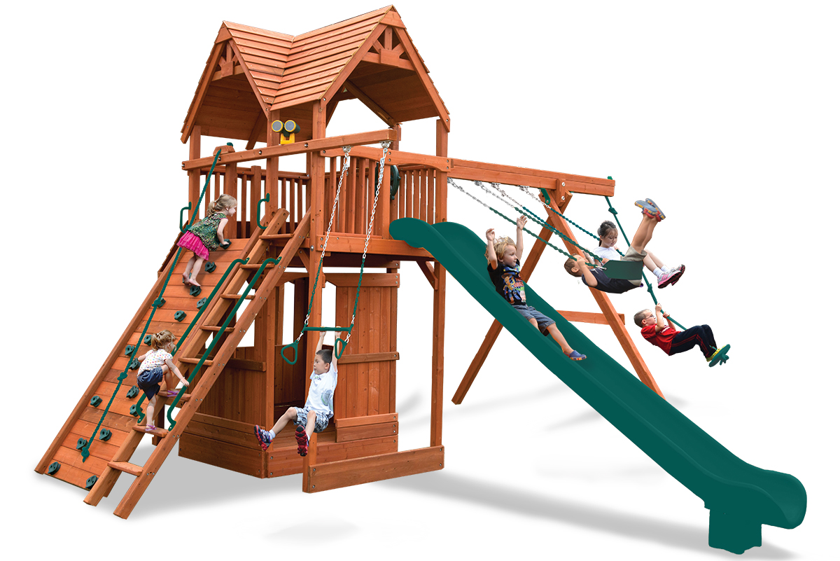 Extreme Fort Hangout play set with lower level playhouse and cafe table