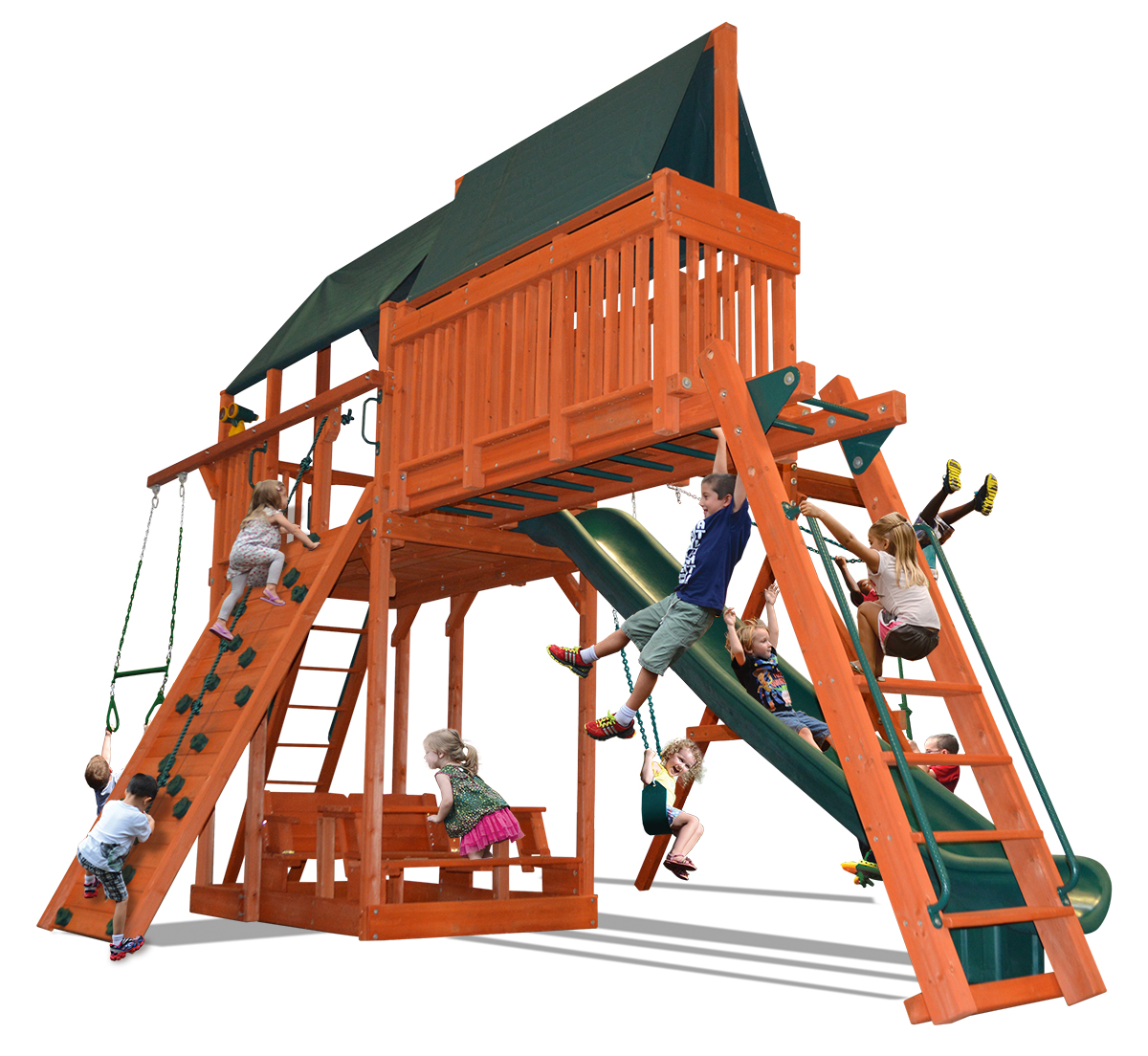 Extreme Fort Combo 4 play set with premier picnic table, monkey bars and skyloft