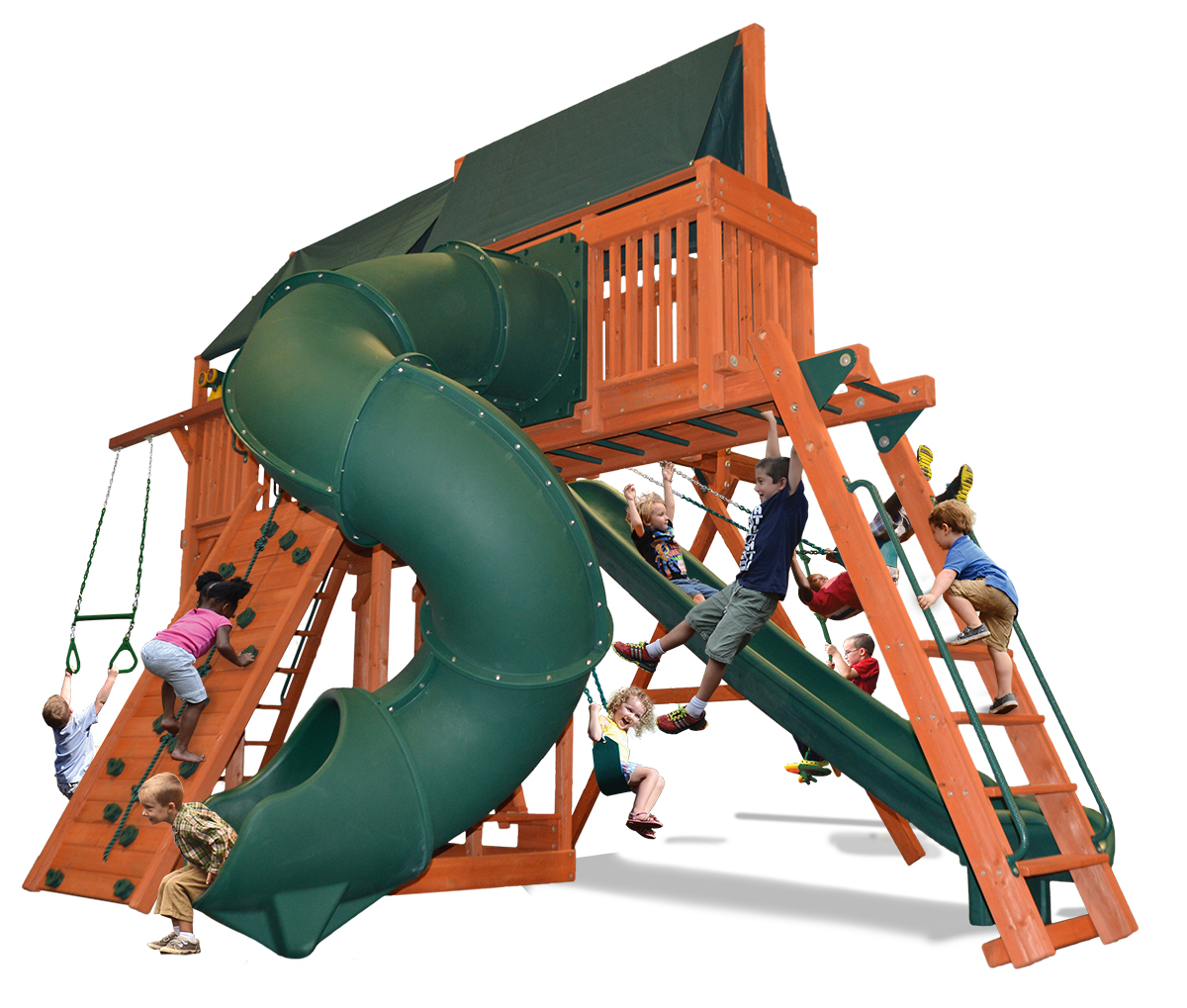 Extreme Fort Combo 5 play set with premier picnic table, monkey bars, skyloft and corkscrew slide