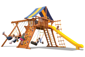 Extreme Playcenter swing sets feature large play deck, climbing wall, ladders, belt swings and trapeze bar