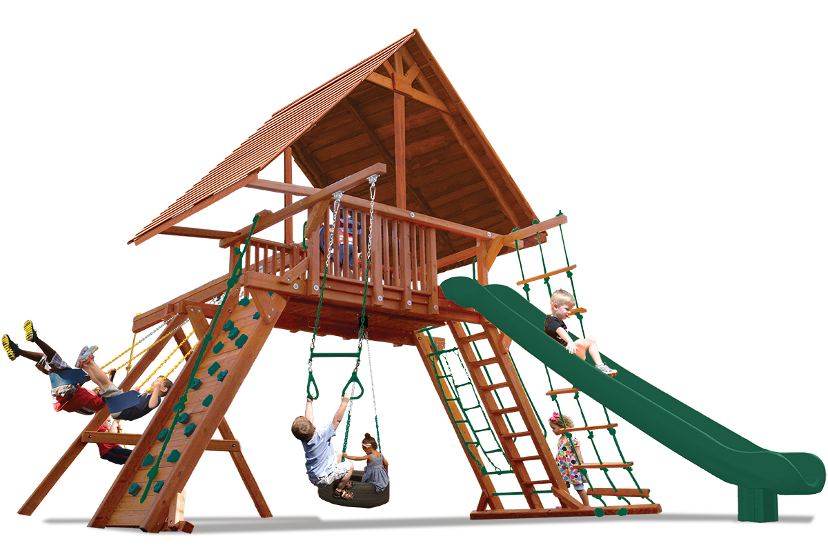 Extreme Playcenter play set includes large play deck, climbing wall, wood roof, ladders, belt swings and a trapeze bar