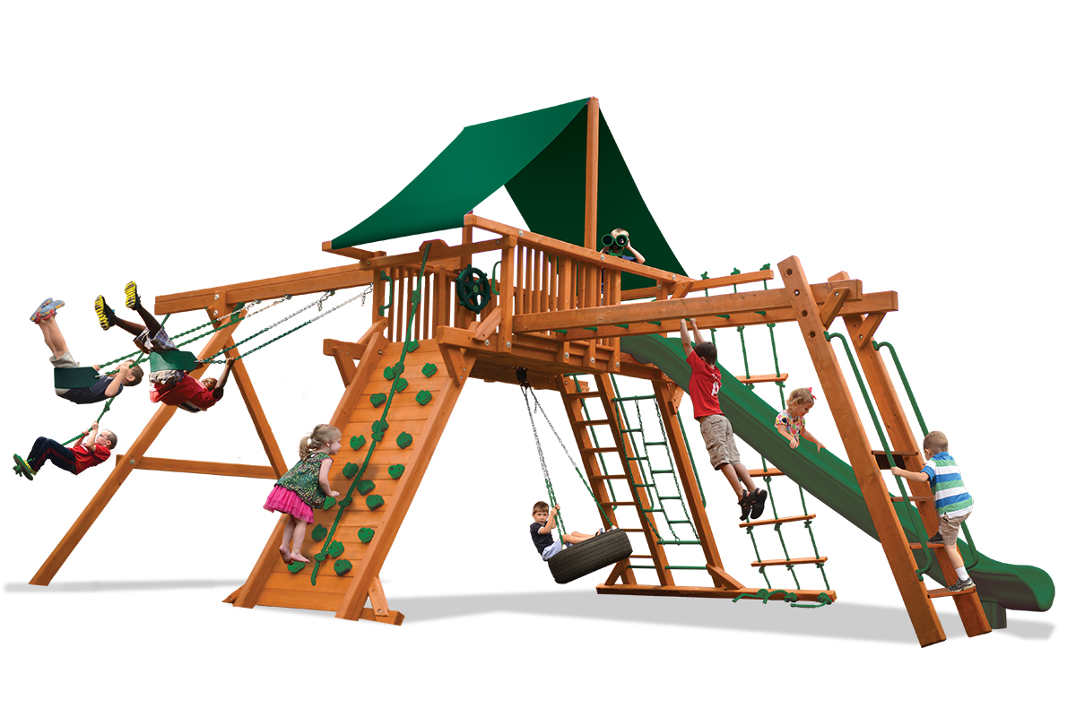 Extreme Playcenter Combo 3 features large play deck, climbing wall, ladders, tire swing, belt swings, trapeze bar and monkey bars